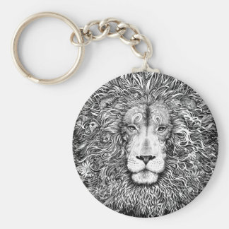 Lion nest black and white keychain