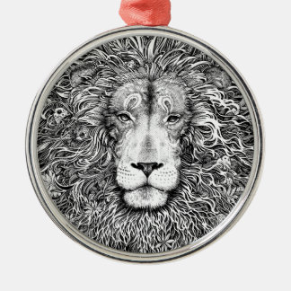 Lion nest black and white metal ornament