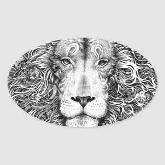 Lion nest black and white oval sticker