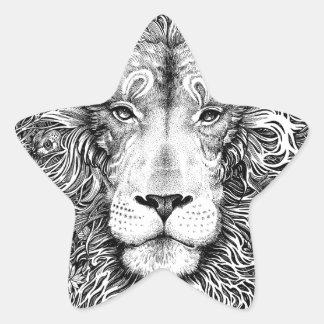 Lion nest black and white star sticker
