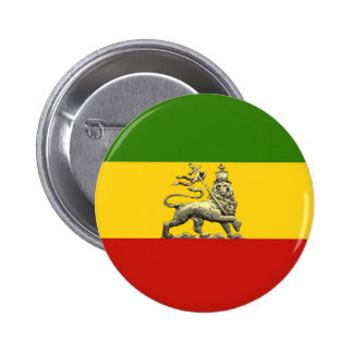 Lion of Judah Button Rastafarian Reggae Colours