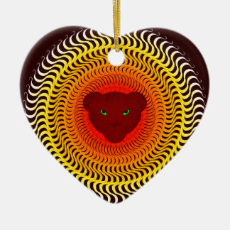 Lion on burgundy ceramic heart ornament