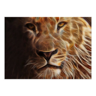 Lion on Fire Majestic King of the Jungle Poster