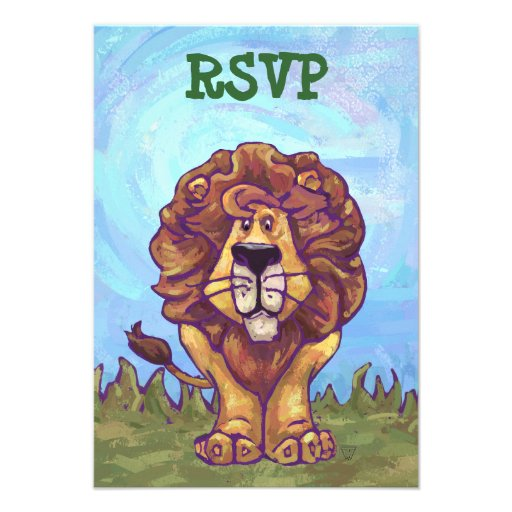 Lion Party Center Invitations