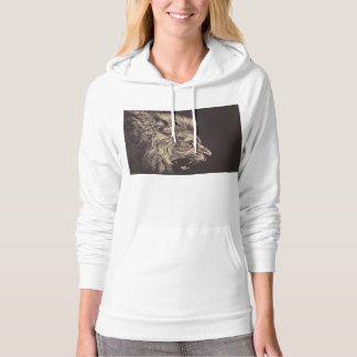 lion pencil art lion roar black and white hoodie