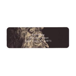 lion pencil art lion roar black and white return address label