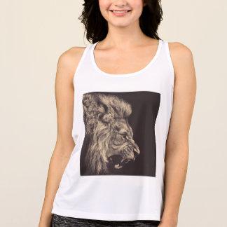 lion pencil art lion roar black and white tank top