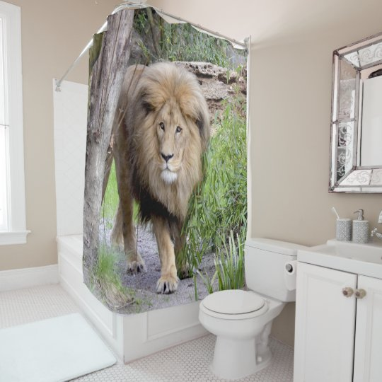 Lion Photo Print Shower Cutrain