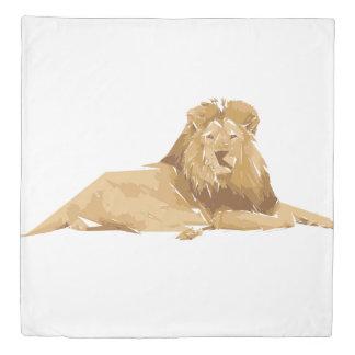Lion polygon art illustration duvet cover