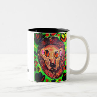 Lion portrait art Two-Tone coffee mug