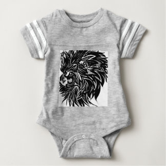 Lion Printed Graphic in Black Baby Bodysuit