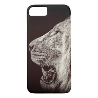 Lion Profile Portrait on Black iPhone 7 Case
