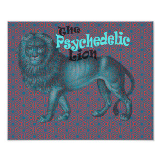Lion Psychedelic Art Retro Vintage 60s 70s Pattern Poster