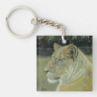 Lion Queen Square Keychain