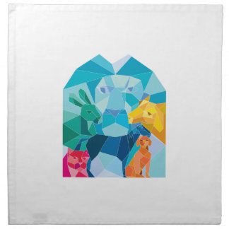 Lion Rabbit Cat Horse Dog Goat Low Polygon Napkin