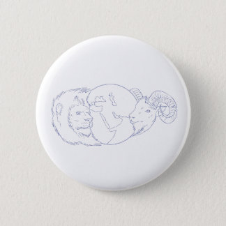 Lion Ram Globe Middle East Drawing 2 Inch Round Button