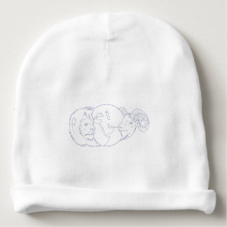 Lion Ram Globe Middle East Drawing Baby Beanie