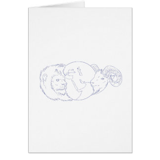 Lion Ram Globe Middle East Drawing Card