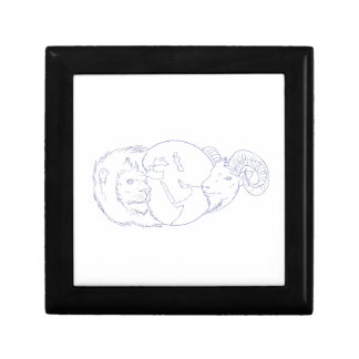 Lion Ram Globe Middle East Drawing Gift Box