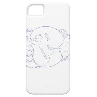 Lion Ram Globe Middle East Drawing iPhone 5 Cover