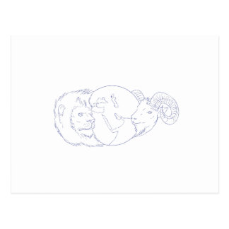 Lion Ram Globe Middle East Drawing Postcard