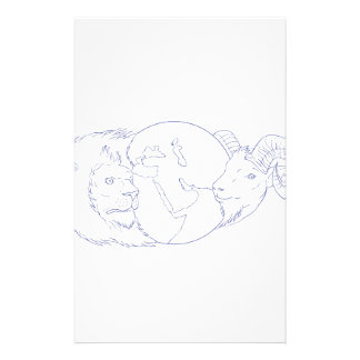 Lion Ram Globe Middle East Drawing Stationery