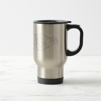 Lion Ram Globe Middle East Drawing Travel Mug