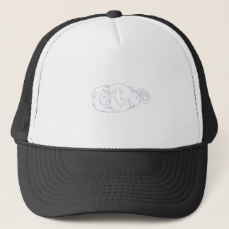 Lion Ram Globe Middle East Drawing Trucker Hat