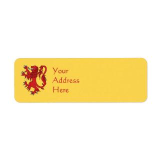 Lion Rampant Gules Return Address Label