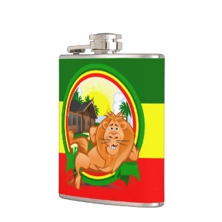 Lion rasta hip flask
