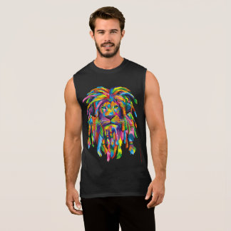 Lion Rasta Rastafarian Dreads Sleeveless Tee