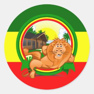 Lion rasta round sticker