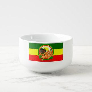 Lion rasta soup bowl with handle