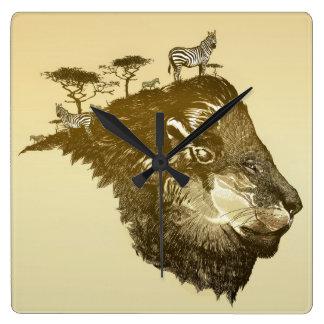 Lion Savanna Wall Clock