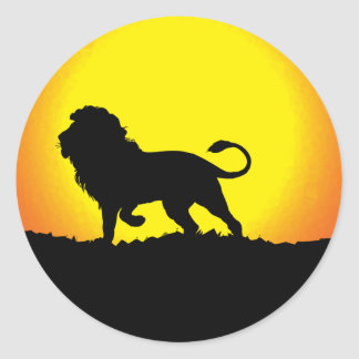 Lion Silhouette Against the Sun Classic Round Sticker