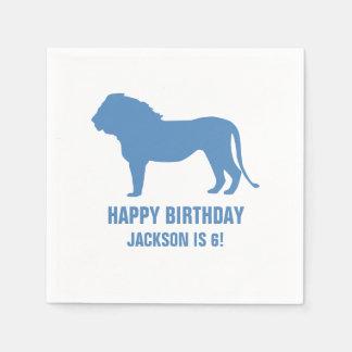 Lion Silhouette Custom Birthday Party Napkin Paper Napkin