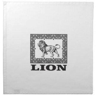 lion stamp napkin