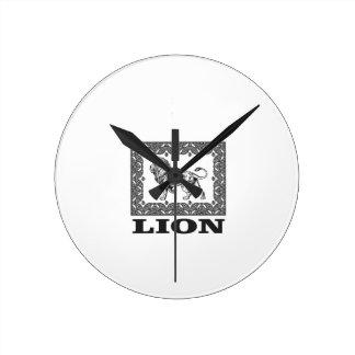 lion stamp round clock