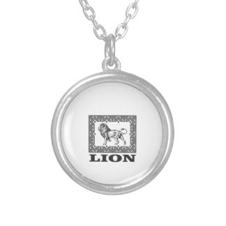 lion stamp silver plated necklace