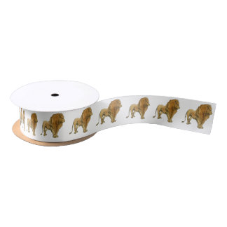 Lion Standing On Any Color Background Satin Ribbon