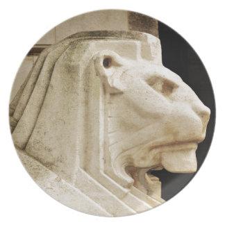 Lion statue in Nottingham Dinner Plate