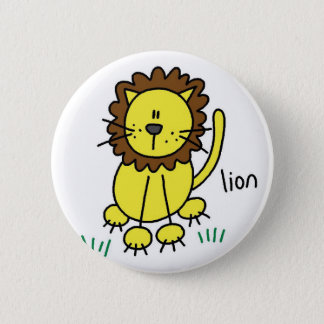 Lion Stick Figure Button