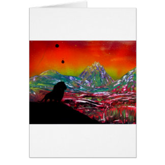 Lion Sunset Landscape Spray Paint Art Painting Card