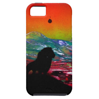 Lion Sunset Landscape Spray Paint Art Painting iPhone 5 Covers
