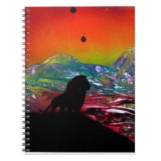 Lion Sunset Landscape Spray Paint Art Painting Notebook