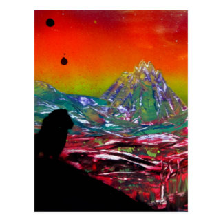 Lion Sunset Landscape Spray Paint Art Painting Postcard