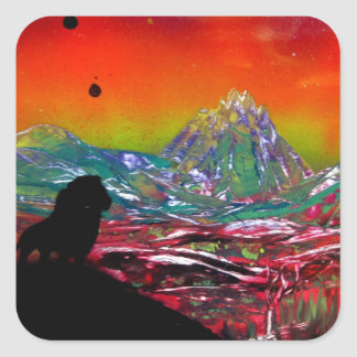 Lion Sunset Landscape Spray Paint Art Painting Square Sticker