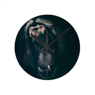 Lion Teeth Roar Fear Angry Roaring Strength Round Clock