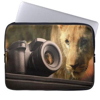 Lion Through Camera Lens Laptop Sleeve