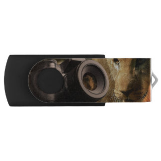 Lion Through Camera Lens USB Flash Drive